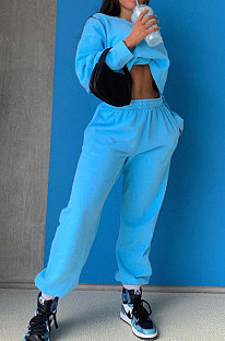 Blue Casual Pure Color Long Sleeve Round Neck Jumper Sweat Pants Loose Sets LML267-4