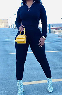 Black New Wholesale Ribber Long Sleeve Zip Front T-Shirts Pencil Pants Slim Fitting Two-Piece DR88130-3
