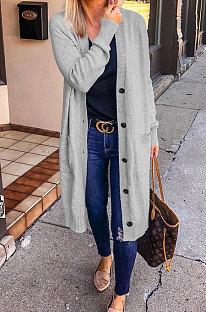 Grey Fashion Wholesale Long Sleeve Single-Breasted Sweater Cardigan  Coat SY8827-2