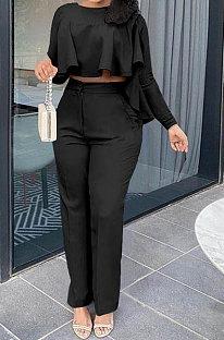 Black Women Irregular Tops Flounce Zipper Pocket Pure Color Straight Leg Pants Two-Pieces GL6509-4
