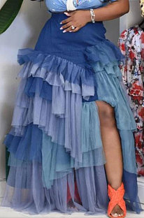 Blue Women Fashion Multilayer Mesh Spaghetti Irregular Sexy Spliced Plus Skirts CCY1664-2