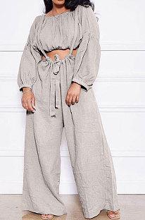 Gray Women Cotton Blend Ruffle Condole Belt Bandage Pure Color Wide Leg Pants Two-Pieces GL6511-1