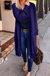 Navy Blue Green Fashion Wholesale Long Sleeve Single-Breasted Sweater Cardigan  Coat SY8827-3