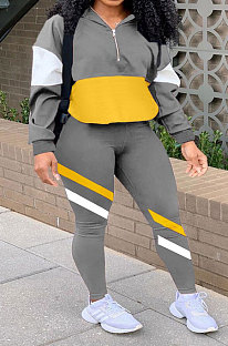 Gray Casual Spliced Long Sleeve Stand Neck Zip Front Loose Jumper Pencil Pants Sport Sets YSH86269-1