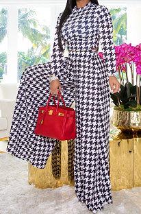 Black Wholesale Newest Plaid Print Long Sleeve O Neck Crop Tops Wide Leg Pants Fashion Sets ZDD31165-2