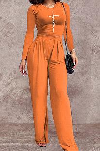 Orange Women Fashion Long Sleeve Printing Tight Pants Sets BYL68000