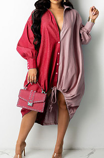 Red Autumn Winter Loose Spliced Long Sleeve Lapel Neck Single-Breated Jean Shirt Dress ZS0422-1