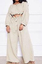Beige Women Cotton Blend Ruffle Condole Belt Bandage Pure Color Wide Leg Pants Two-Pieces GL6511-7