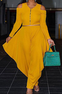 Yellow Modest Newest Off Shoulder Long Sleeve Zip Tops Irregularity Wide Leg Pants Solid Color Two-Piece YG10822-2
