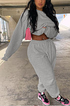 Gray Casual Pure Color Long Sleeve Round Neck Jumper Sweat Pants Loose Sets LML267-2