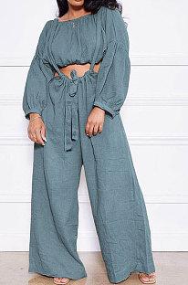 Blue Gray Women Cotton Blend Ruffle Condole Belt Bandage Pure Color Wide Leg Pants Two-Pieces GL6511-6