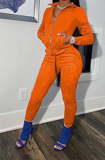 Orange Cotton Blend Casual Long Sleeve Stand Neck Zip Front Coat Bodycon Pants Elastic Sport Sets YYF8252-5