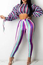 Purple Casual Digital Stripe Printing Arm Drawsting Long Sleeve Round Collar Crop Tops Pencil Pants Two-Piece SZS8175-3