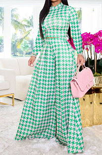 Green Wholesale Newest Plaid Print Long Sleeve O Neck Crop Tops Wide Leg Pants Fashion Sets ZDD31165-1