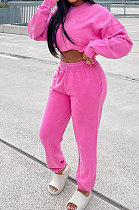 Rose Red Casual Pure Color Long Sleeve Round Neck Jumper Sweat Pants Loose Sets LML267-3