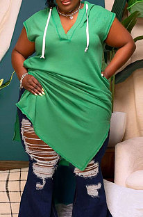 Green Trendy Casual V Collar Split Pure Color Hole Short Sleeve Plus Size Mini Dress CCY1679