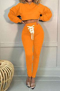 Otrange Women Trendy Sport Cotton Pure Color Bnadage Bodycon Hooded Tops Pants Sets PH13261-9