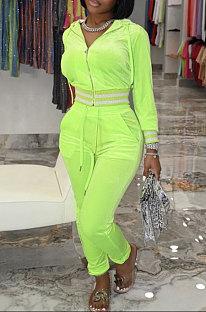 Neon Green Wholesale Women Velvet Webbint Spliced Long Sleeve Hoodie Bodycon Pants Casual Sport Sets LML271-3