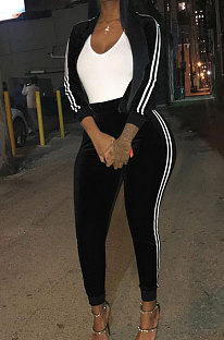 Black Casual Modest Velvet Side Strip Spliced Long Sleeve Zip Front Hoodie Bodycon Pants Sport Sets LS6475-3