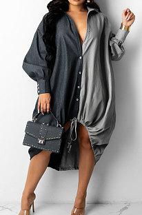 Black Autumn Winter Loose Spliced Long Sleeve Lapel Neck Single-Breated Jean Shirt Dress ZS0422-2