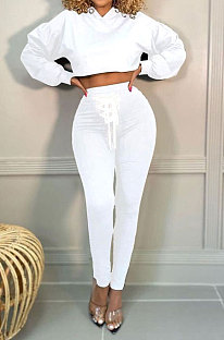White Women Trendy Sport Cotton Pure Color Bnadage Bodycon Hooded Tops Pants Sets PH13261-8