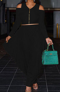 Black Modest Newest Off Shoulder Long Sleeve Zip Tops Irregularity Wide Leg Pants Solid Color Two-Piece YG10822-1