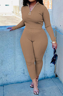 Khaki New Wholesale Ribber Long Sleeve Zip Front T-Shirts Pencil Pants Slim Fitting Two-Piece DR88130-4