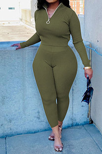 Olive Green New Wholesale Ribber Long Sleeve Zip Front T-Shirts Pencil Pants Slim Fitting Two-Piece DR88130-5