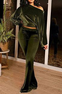 Army Green Women Solid Color Pullover Velvet A Word Shoulder Lantern Sleeve Pocket Flare Leg Pants Sets GL6517-6