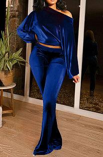 Blue Women Solid Color Pullover Velvet A Word Shoulder Lantern Sleeve Pocket Flare Leg Pants Sets GL6517-1