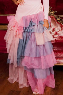 Pink Women Fashion Multilayer Mesh Spaghetti Irregular Sexy Spliced Plus Skirts CCY1664-1