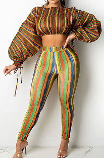 Brown Casual Digital Stripe Printing Arm Drawsting Long Sleeve Round Collar Crop Tops Pencil Pants Two-Piece SZS8175-4