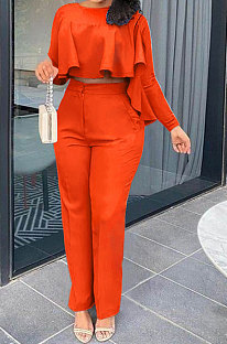 Orange Women Irregular Tops Flounce Zipper Pocket Pure Color Straight Leg Pants Two-Pieces GL6509-2