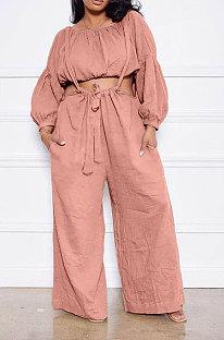 Pink Women Cotton Blend Ruffle Condole Belt Bandage Pure Color Wide Leg Pants Two-Pieces GL6511-2