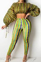 Yellow Casual Digital Stripe Printing Arm Drawsting Long Sleeve Round Collar Crop Tops Pencil Pants Two-Piece SZS8175-2