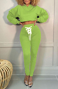 Light Green Women Trendy Sport Cotton Pure Color Bnadage Bodycon Hooded Tops Pants Sets PH13261-11
