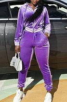 Purple Wholesale Women Velvet Webbint Spliced Long Sleeve Hoodie Bodycon Pants Casual Sport Sets LML271-1