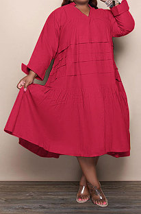 Wine Red Simple  Casual Long Sleeve V Neck Folded Solid Color Loose Fat Women Dress QSS51049-5