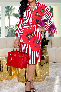 Red Wholesale Stripe Printing Long Sleeve Lapel Neck Single-Breasted With Beltband Shirt Dress WY6849-5