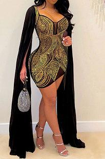 Golden Women Hot Drilling Perspectivity High Waist Bodycon Mini Dress K2203-1
