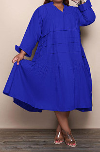 Blue Simple  Casual Long Sleeve V Neck Folded Solid Color Loose Fat Women Dress QSS51049-1