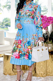 Sky Blue Fashion Positioning Print Spliced Long Sleeve Lapel Neck Side Stealth Zipper Shirt Swing Dress WY6848-2