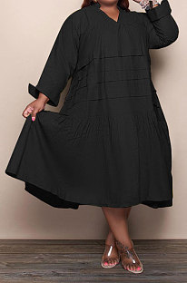 Black Simple  Casual Long Sleeve V Neck Folded Solid Color Loose Fat Women Dress QSS51049-3
