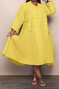 Yellow Simple  Casual Long Sleeve V Neck Folded Solid Color Loose Fat Women Dress QSS51049-4