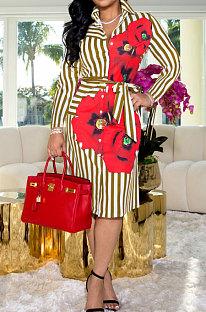 Khaki Wholesale Stripe Printing Long Sleeve Lapel Neck Single-Breasted With Beltband Shirt Dress WY6849-1