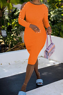 Orange Night Club Off Shoulder Long Sleeve Round Collar Collect Waist Collect Waist Pencil Dress WY6847-2