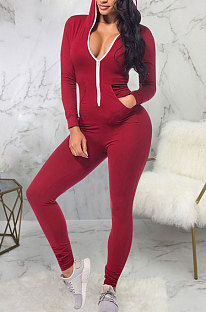Wine Red Casual Wholesale Long Sleeve Zip Front Collect Waist Hooded Bodycon Jumpsuits SMR10648-2