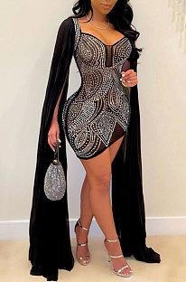 Silver Women Hot Drilling Perspectivity High Waist Bodycon Mini Dress K2203-2