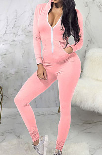 Pink Casual Wholesale Long Sleeve Zip Front Collect Waist Hooded Bodycon Jumpsuits SMR10648-1
