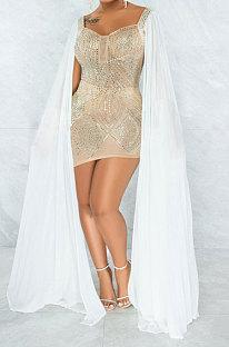 Apricot Women Hot Drilling Perspectivity High Waist Bodycon Mini Dress K2203-3